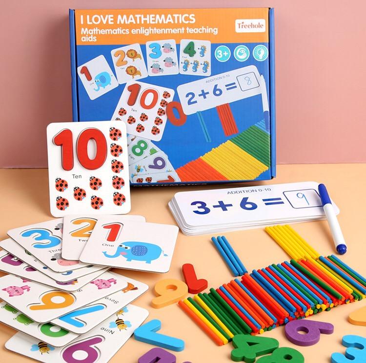 Montessori brinquedos de matemática educacional iluminação ensino com placas de cartão de madeira contagem varas adição subtração brinquedo