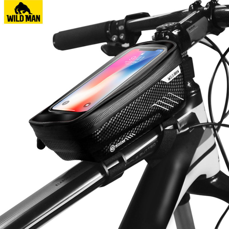 WILD MAN MTB Road Bike Fron Frame Bag Waterproof Phone Holder Hard Shell Bag