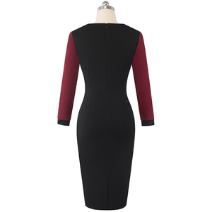 Image 4 - Nice forever Winter Elegant Contrast Color Patchwork Office Bow vestidos with Long Sleeve Business Bodycon Women Dress B554