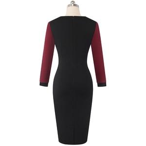 Image 4 - Nizza für immer Winter Elegante Kontrast Farbe Patchwork Büro Bogen vestidos mit Langarm Business Bodycon Frauen Kleid B554