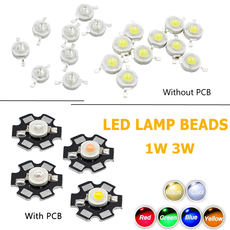 10 Pcs 1W High Power White Led Lamp Beads 80~90 Lm for Home Kitchen Office DIY