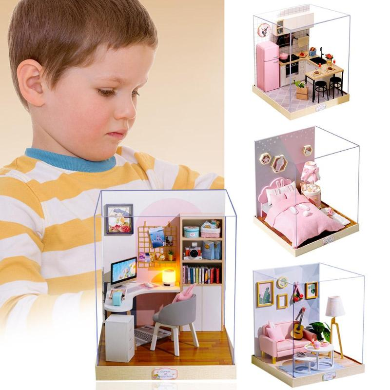 Children Adult Miniature Wooden Doll Exquisite House Model Building Kits Dollhouse Toy Children's Necessary Fun Partners