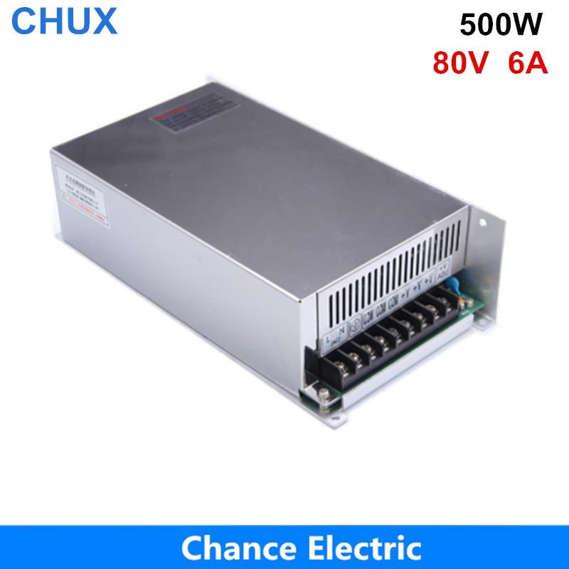Alimentation à découpage de puissance 80V 500W 80V 6A alimentation à découpage AC à DC pour bande de lumière LED (S-500-80)
