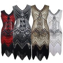 Retro Sequin Beads Dress Front and Back V-neck Fashion Tassels Formal Dress Bodycon Dress Women Dress Party Dress(China)