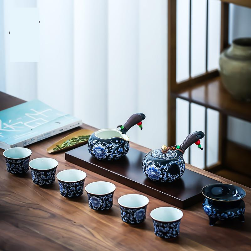 Teaware Set Drinkware Side Teapot Tea Set Full Of Household Simplicity Blue And White Porcelain Ceramic Cup