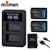 2 sztuk 2100mAh Akumulator NP-FW50 NP FW50 npfw50 np fw50 np-fw50 bateria aparatu cyfrowego + LCD podwójna ładowarka usb dla Sony NEX-3 a7R Alpha a6500 a6300 a6000 a5000 a3000 Bateria aparatu