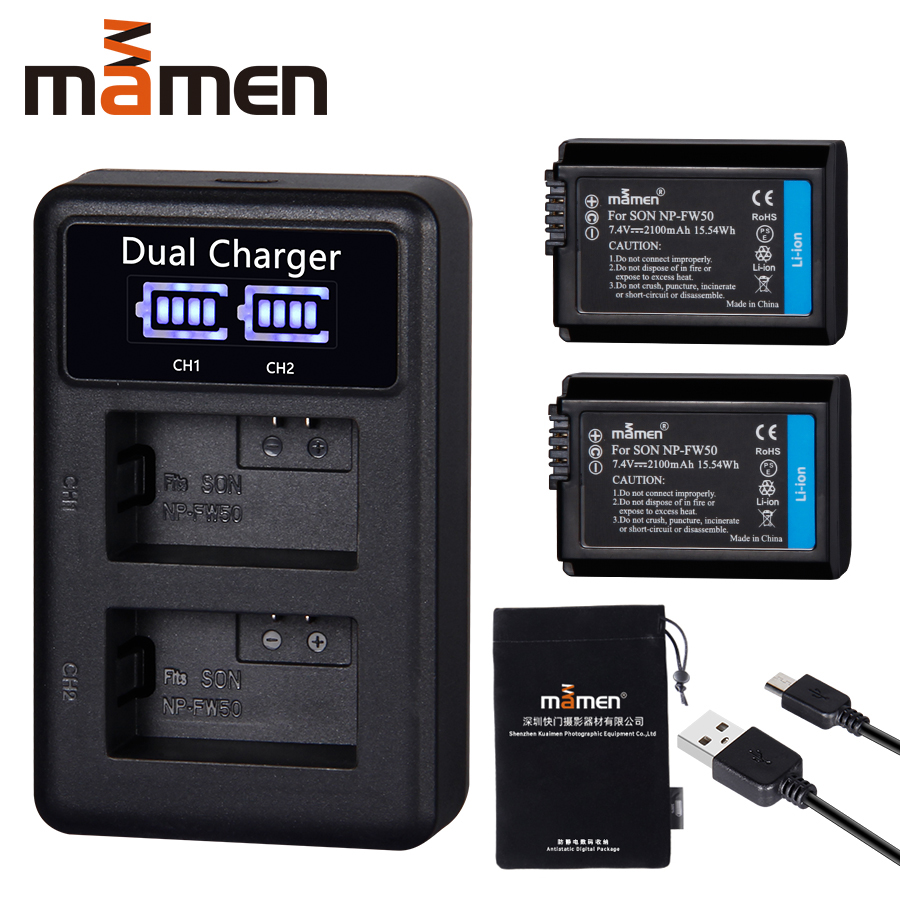 2pcs 2100mAh NP-FW50 NP FW50 Digital Camera Battery +LCD USB Dual Charger For Sony NEX-3 A7R Alpha A6500 A6300 A6000 A5000 A3000