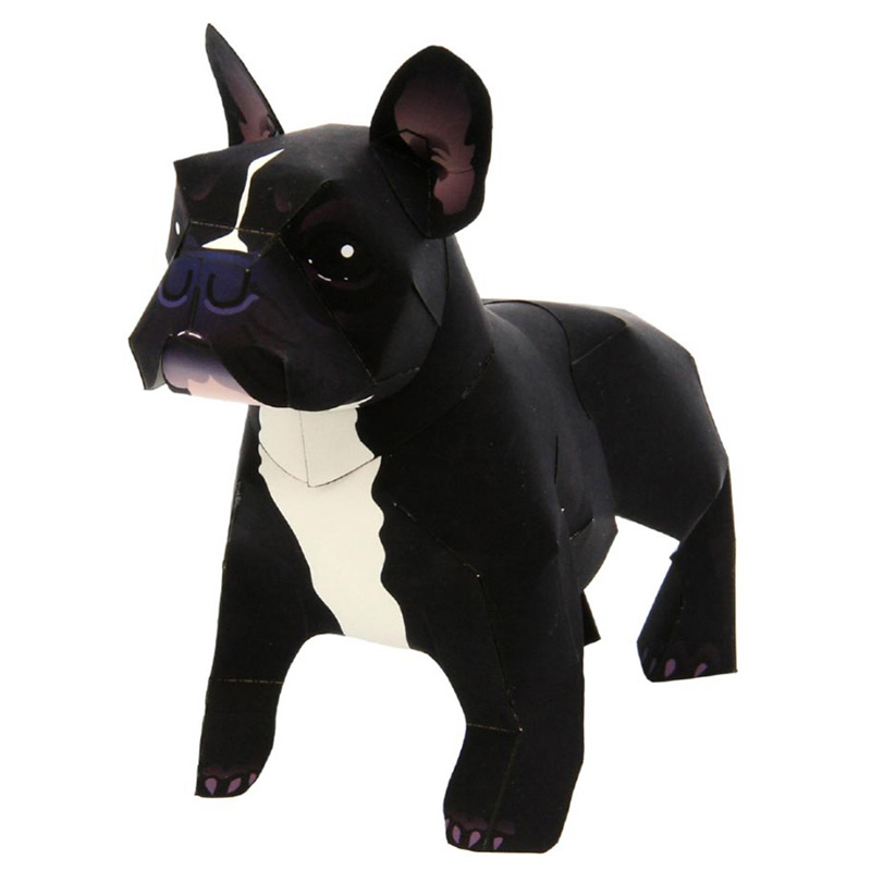 French Bulldog Dog Folding Cutting Mini Cute 3D Paper Model Papercraft Pet Animal Figure DIY Kids Adult Craft Toys QD-035