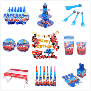 Disney Cars Birthday Party Decorations Kids Favor Lightning McQueen Paper Cups Plates Baby Shower Disposable Tableware Supplies(China)