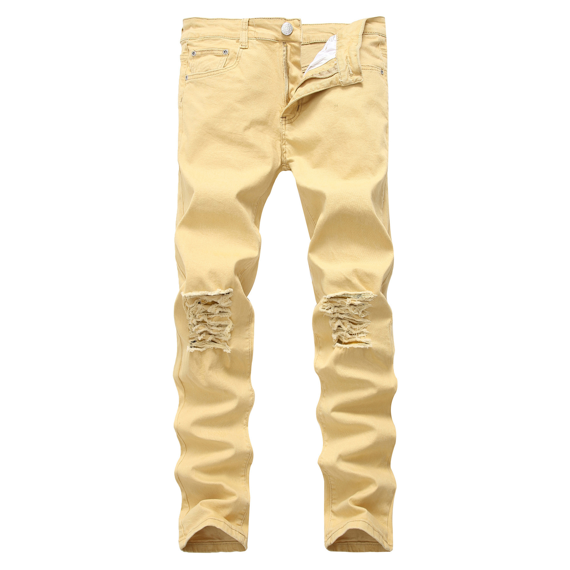 2020 New Style Men High Street-Style With Holes Jeans Skinny Elasticity Men And Women Jeans