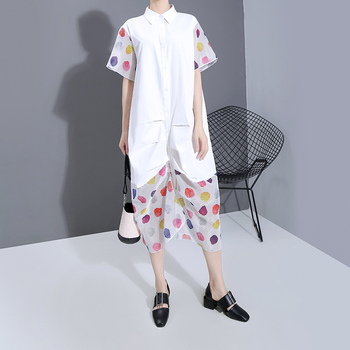 New 2020 Women Plus Size Summer Long White Shirt Dress Colorful Dots Print Patchwork Ladies Stylish Casual Unusual Dress 6155 2