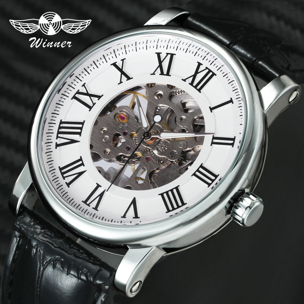 Classic Elegant Women Watches Luxury Brand Winner Mechanical Hand-Wind Watch Leather Strap Roman Numeral Skeleton Wristwatch