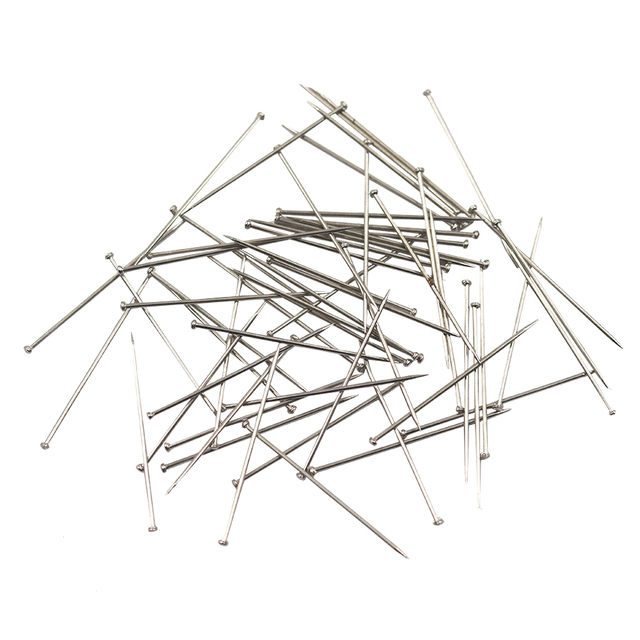 D & D 1000 Uds alfileres rectos de acero inoxidable 31mm alfileres de modista apliques de edredón aguja de coser accesorios de costura