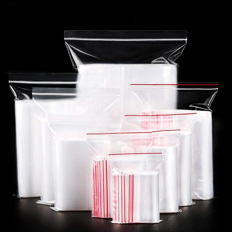 100Pcs Plastic Resealable Transparent Bags For Food Package Kitchen Storage Plastic Dustproof Ziplock Bags