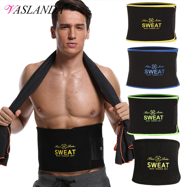 VASLANDA Men Neoprene Waist Trainer Corset Slimming Shaper Tummy Control Girdles Workout ABS Trimmer Fitness Sweat Belt