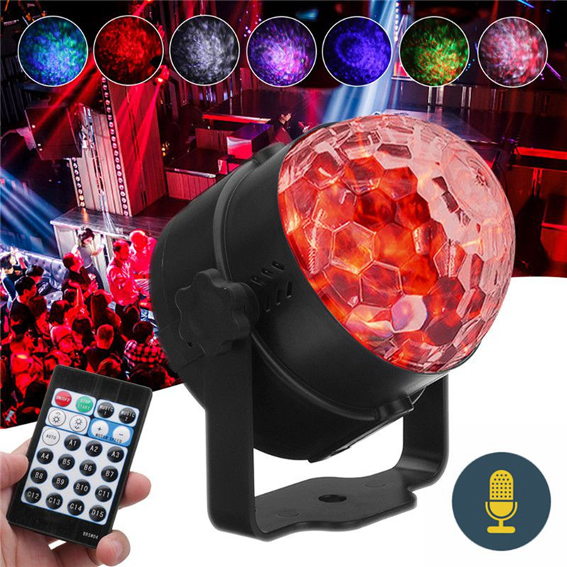 LED  Effect Light Mini RGB Self-propelled Flash Mode Remote/ Voice Control Crystal Ball For DJ Part Disco Club Home KTV