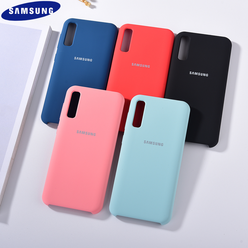 Original Liquid Silicone Phone Case For Galaxy A50 A70 A70S Silky Soft-Touch Silicone Back Protective Cover With Logo