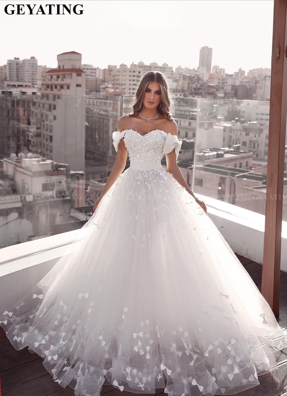 Elegant Cap Sleeves Ball Gown Arabic Wedding Dress 2020 Off The Shoulder Bow Tulle Islamic Dubai Bridal Gowns Plus Size Buy At The Price Of 189 60 In Aliexpress Com Imall Com,Summer Casual Beach Wedding Dresses