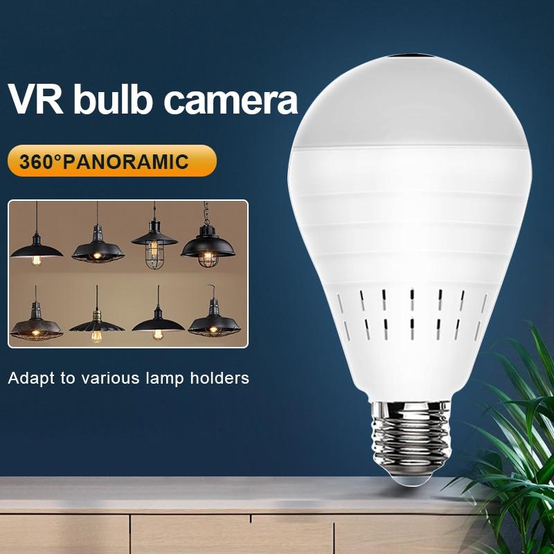 Панорамная HD-камера Videcam с Wi-Fi, панорамная камера видеонаблюдения с лампочкой, беспроводная Ip-камера видеонаблюдения «рыбий глаз»