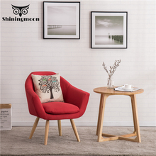 Modern Single Wood Dining Chair Nordic Upholstered Chair Fabric Cafe Office Restaurant Furniture Minimalist Sofa Chair