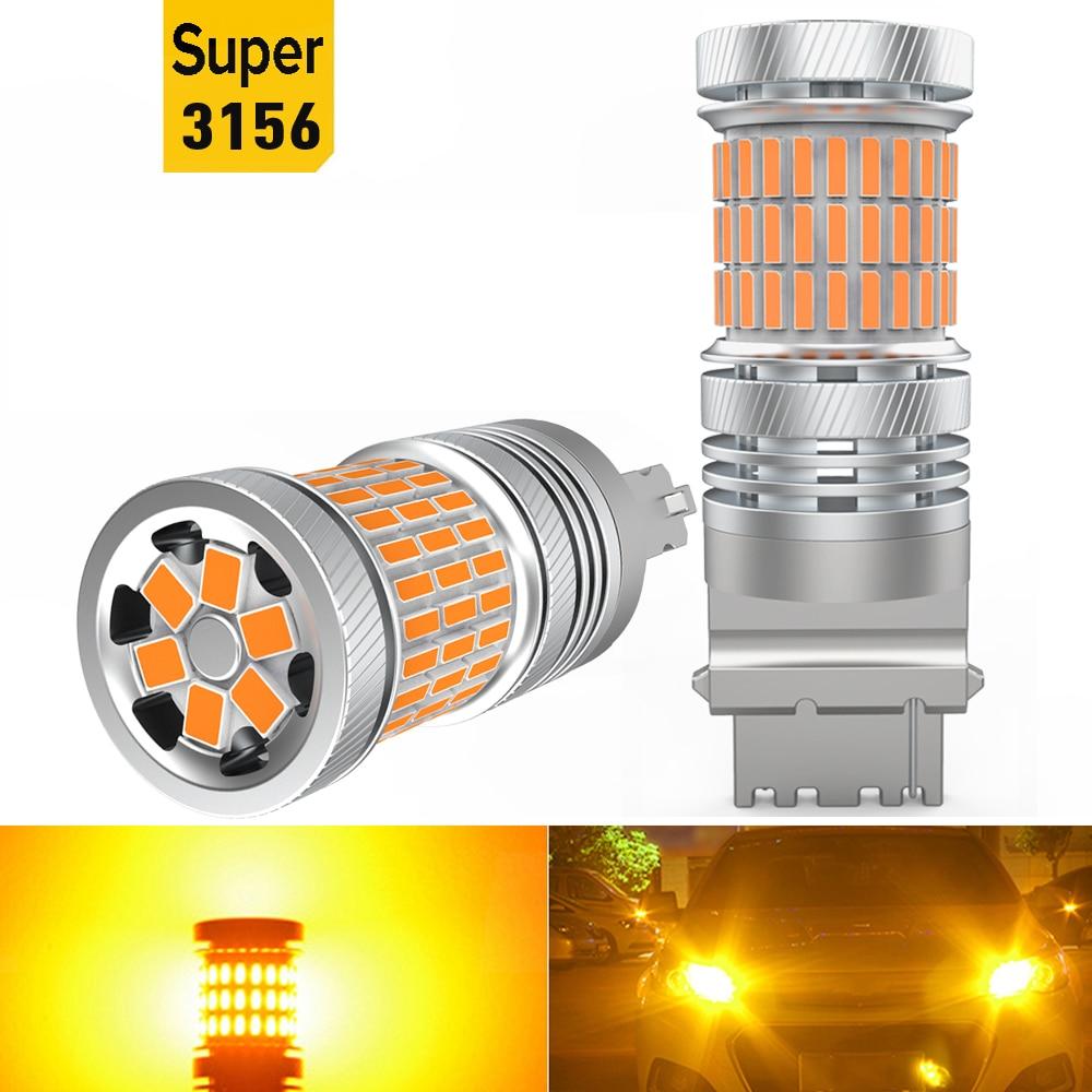 2X Amber T25 P27W 3156 1156 BA15S BAU15S W21W LED Canbus No Hyper Flash Turn Signal Light For Peugeot 206 307 208 308 2008 207