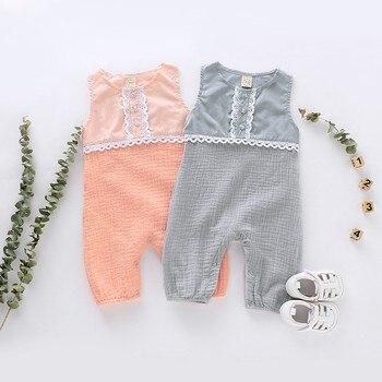 Nuevo mono Casual de verano para bebé niña de algodón sin mangas de encaje mamelucos para niños pequeños ropa de bebé