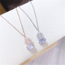 Delicate Titanium Steel Rose Gold Shiny Zirconia Floral Pendant Necklace For Women Party Summer Beach  Personality Necklace цена 2017