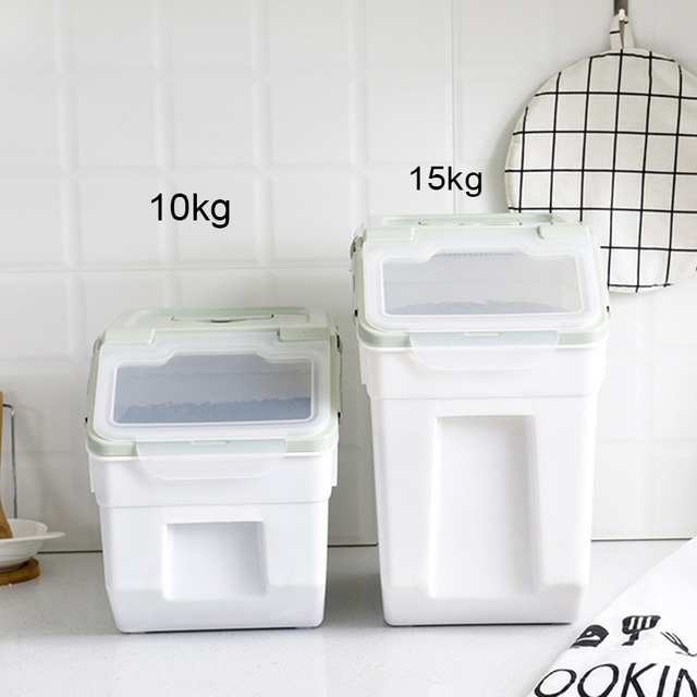 15kg Rice Storage Container Sealed Moisture-proof Grain Pet Food Storage Box Insect Prevention Mildew Container With Wheel