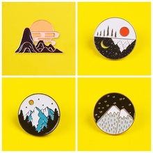 Metal badge heart mountain black and white aroun accessories clothes lapel pin brooch gift icon jewelry decoration pins briiches