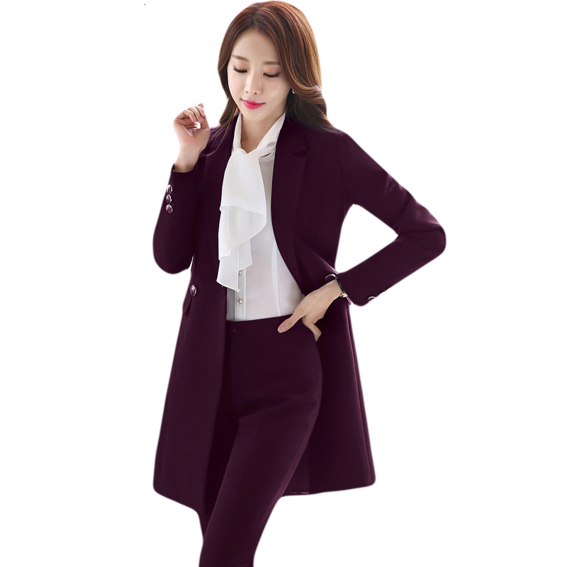 High Quality Fabric Autumn Winter Formal Women Business Suits OL Styles Office Work Wear Ladies Blazers With Long Windbreaker