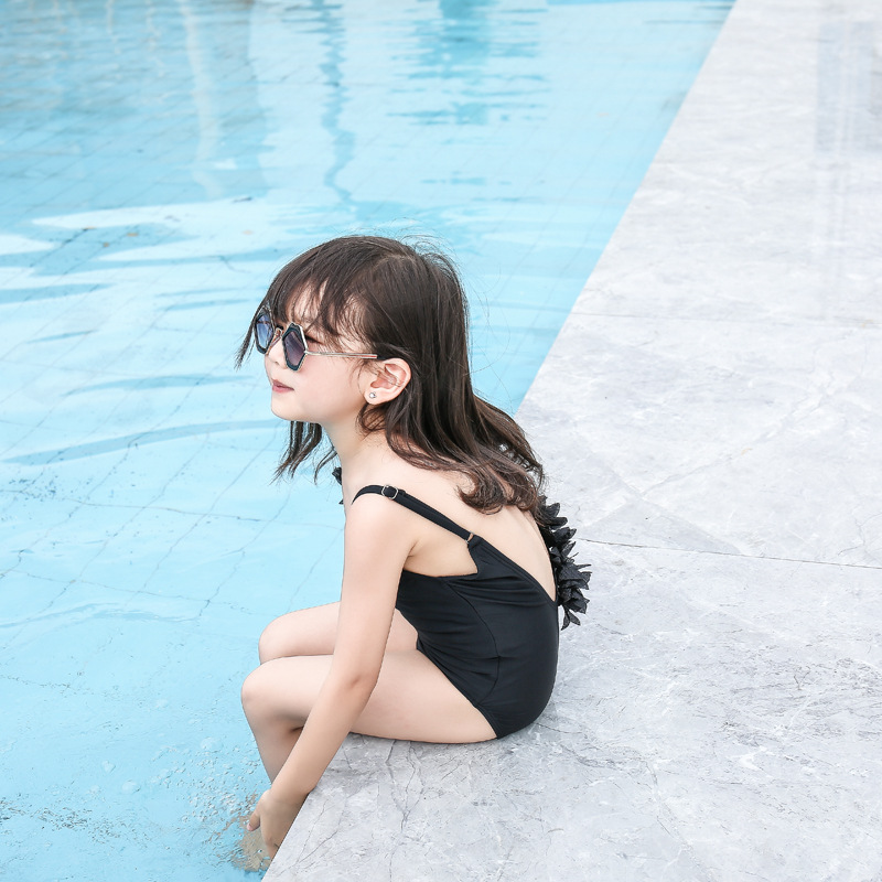2019 New Style One-piece Swimsuit For Children Women's Cartoon Girls Hipster Flounced Hot Springs Flower