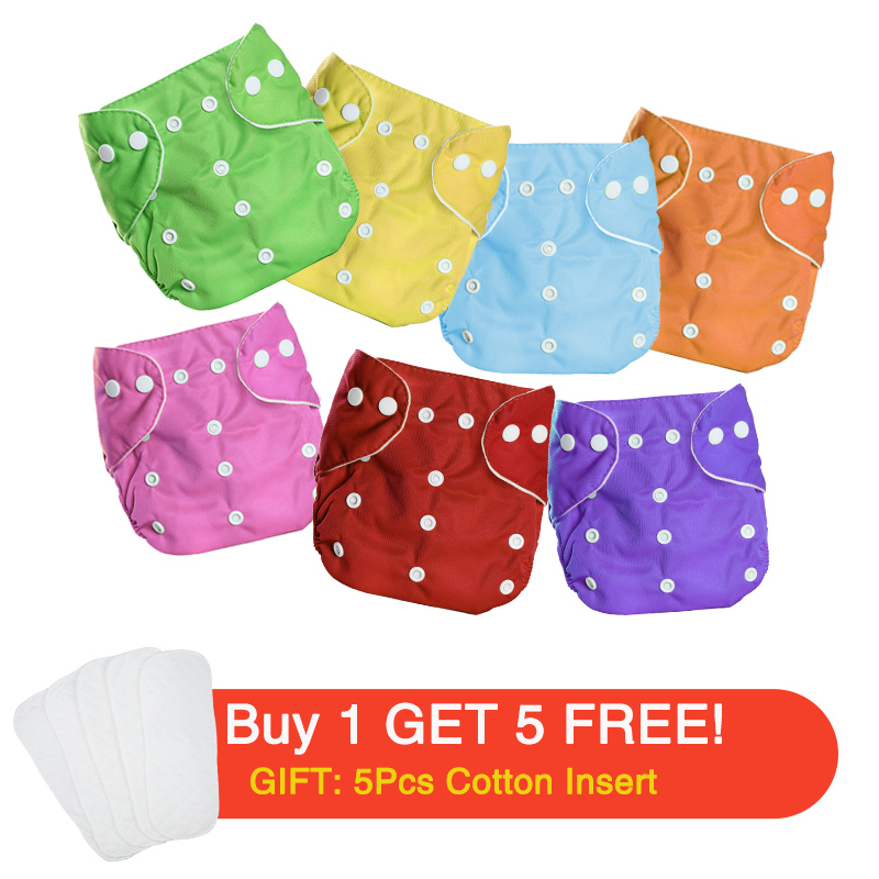 Baby Washable Cloth Diaper Nappies,5PCS Waterproof Cotton Adjustable Wrap Soft All-in-One Pocket Nappy for Most Baby Toddlers Blue