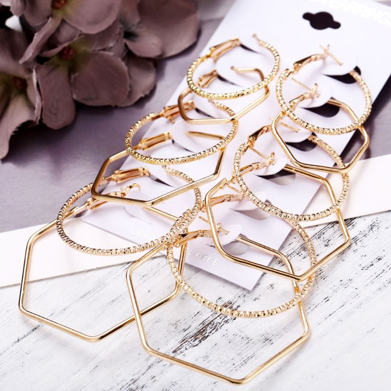 6 Pair/set New Exaggerated Women Ear Ring Simple Geometric Polygon Earring Rock Personality Earrings Y4QB