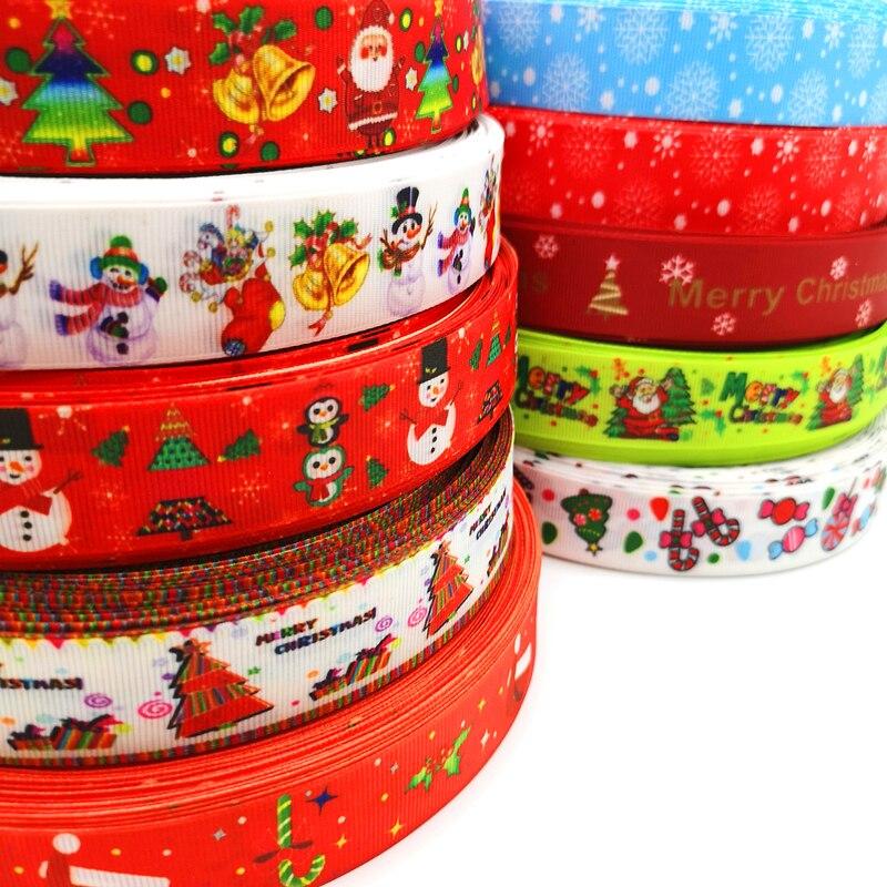 5 ярдов 25 мм Рождественская Лента Термотрансферная печатная лента для упаковки подарков Свадебные украшения банты для волос DIY