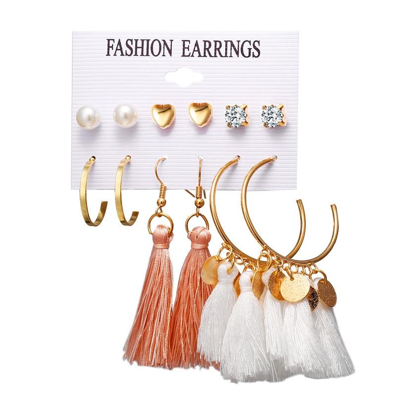 17 км акриловые серьги с кисточками для женщин, богемные серьги, набор больших геометрических висячих сережек Brincos, Женские Ювелирные изделия DIY - Окраска металла: Earrings Set 22