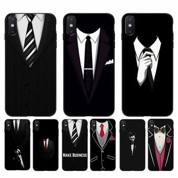 Yinuoda Cool black Man suit White Shirt Tie Phone Case For iPhone 11 8 7 6 6S Plus X XS MAX 5 5S SE 2020 XR 11 pro Cover image
