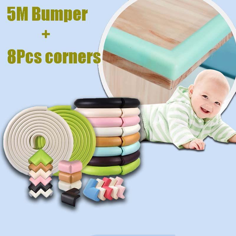 5M Baby Safety Desk Table Edge Guard Security Soft L-Shaped Kids Baby Corner Protection Bumper Angle Home Anti-collision Strip
