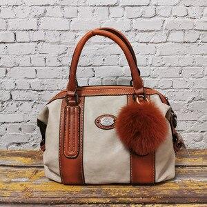 Image 3 - Imyok新トップハンドルバッグ女性のレトロな本革デザイナーハンドバッグクロスボディショルダーバッグ大容量財布 2020
