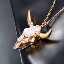 Bohemian Bull Head statement Women Men Necklace Steampunk Vintage Retro Gold Chain Long Necklace Animal Gothic Jewelry Gift(China)