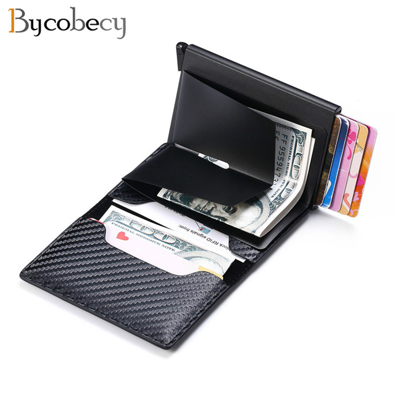 Bycobecy Anti-theft Rfid Blocking Smart Wallet Men Vintage Wallet PU Leather Unisex Security Information Aluminum Mini Purse New