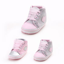 First Walker Baby Booties Cotton Cartoon Baby Girl Canvas Shoe Heart shape Shoes Sneaker Anti-slip Soft Sole Toddler(China)