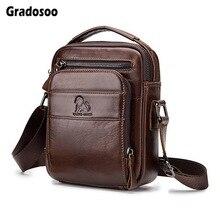 все цены на Gradosoo Leather Small Bag Shoulder Bags For Men Messenger Bag Male Waterproof Crossbody Bags Men Handbag Travel Bags New HMB667 онлайн