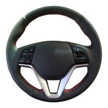 Diy Echt Leer Auto Stuurhoes Voor Hyundai Tucson 2015 2016/Beschermen Stuurwiel