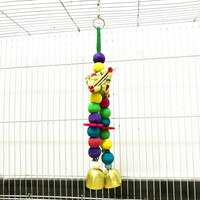 Parrot Toy Hanging Bird Cage Hanging Decoration Ornament Colorful Wooden Beads String With Bells Natural Safe Chew Toy 2020