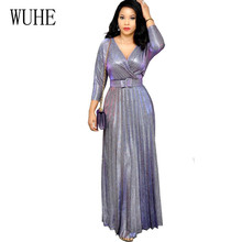WUHE Popular Hot Stamping Pleated Maxi Dress with Belt Sexy V-neck Half Sleeve Hollow Out Shiny Women High Waist Fashion Clothes цена