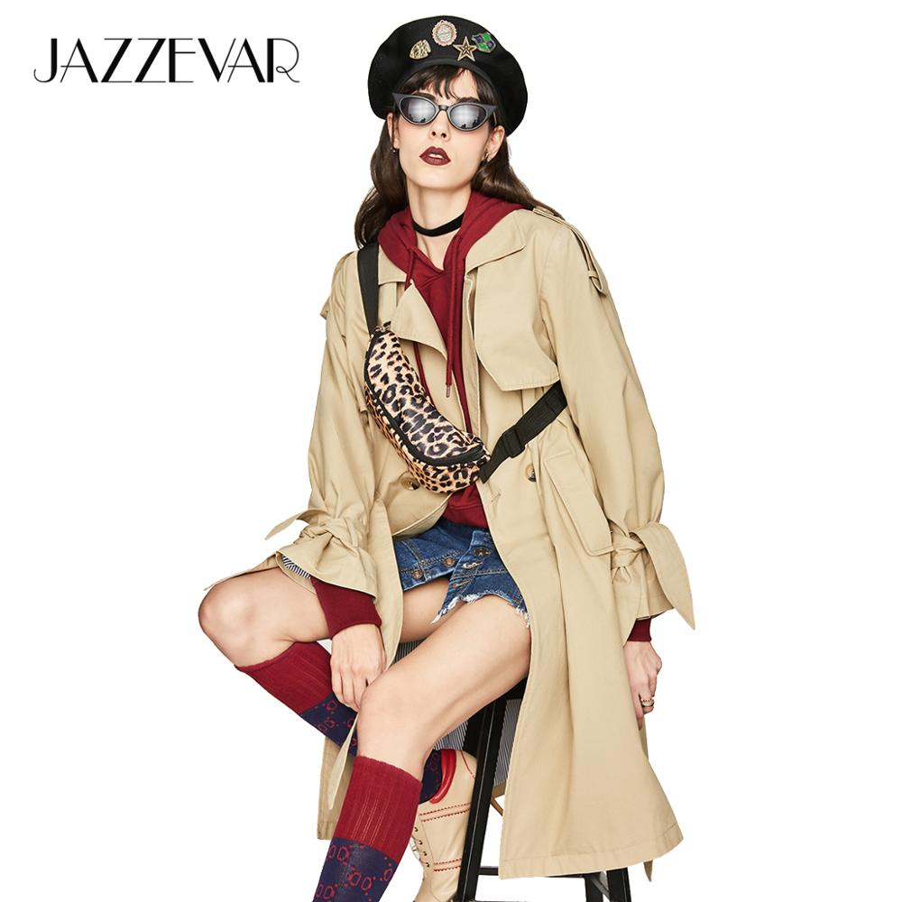 JAZZEVAR 2019 Autumn New Casual Women's Cotton Washed Long Double-breasted Trench Coat Loose Clothing Good Quality