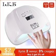 Lke sunx 48w 54w lâmpada de luz led uv, secador de unhas para esmalte de gel com fundo 30s/60s temporizador lcd lâmpada para secador de unha