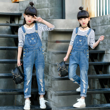 2019 Spring Hole Ripped Jeans for Girl Kids Clothing Denim Jumpsuit Overall Jeans Garcon Clothes Children Trousers 4 6 9 12 Year fashion ripped jeans for kids girl clothes long hole girls jeans pants summer destroyed denim trousers pants for 4 12 years girl