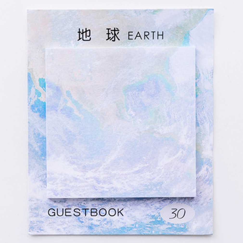 Student Stationery Square Shape Beautiful Planet Sticky Notes Self-Stick Tearable Painting Notepad Paper Sticky Memo