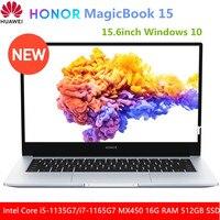 HONOR MagicBook 15 2021 ordenador portátil de 15,6 pulgadas Intel Core i5-1135G7/i7-1165G7 MX450 16G RAM 512GB PCI SSD Windows 10